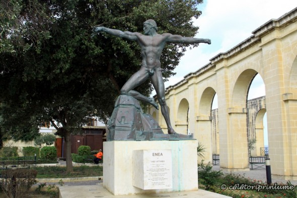 Statue of Enea in Hastings Gardens Malta