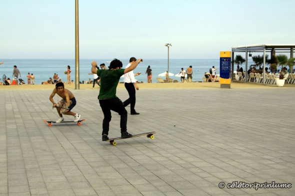 Barcelona Beach skateboarding around