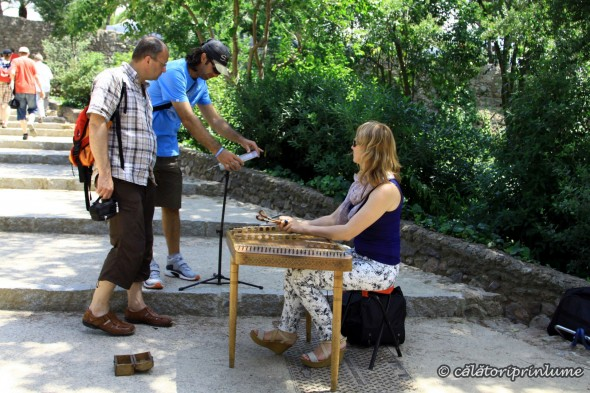 Barcelona Park Guell Russian woman playing the xylophone