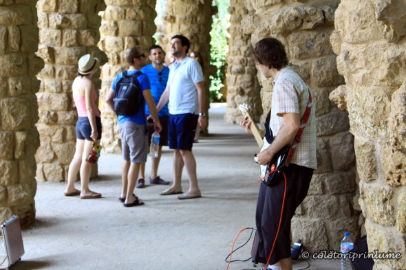 Barcelona playing the electric guitar in Park Guell