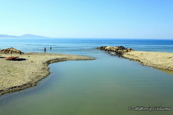 Crete Agia Galini Beach river flowing into the sea 2