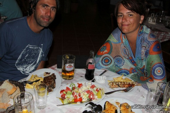 Having dinner at Mithimna Restaurant Crete
