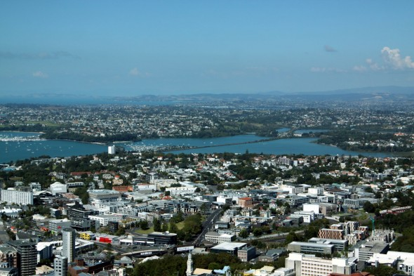 Auckland Sky Tower view towards Devenport and Rangitoto Island.