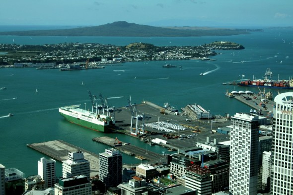 Auckland Sky Tower view towards the commercial port