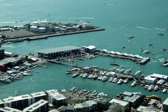 Auckland Viaduct Basin view from the Sky Tower